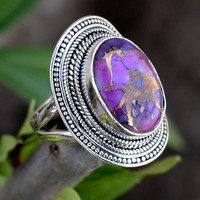 Purple Copper Turquoise stone ring,  Stone ring, silver ring, 925 sterling silver, Bohemian Ring, Boho, Native Ring, Turquoise Jewellry,