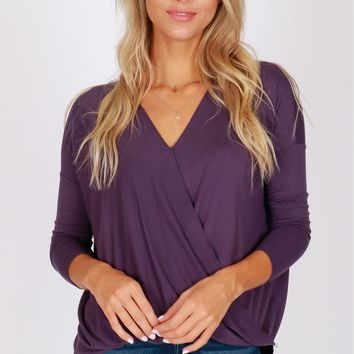 Keep It Real Wrap Blouse Deep Purple