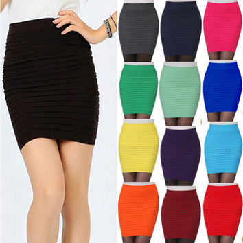 Hot New Fashion Women Ladies Sexy Pencil Skirt Seamless Elastic Pleated High Waist Slim Mini Skirts For Office Party Cheap Z2