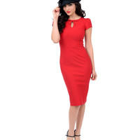 Stop Staring! 1940's Style Red Fitted Cap Sleeve Evie Wiggle Dress