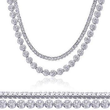"Jewelry Kay style Men's Silver Toned Icy 20"" Flower Chain & 16"" Choker Tennis Chain Necklace Set"