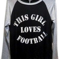 Raglan Tee-This Girl Loves Football, Black-Heather Grey