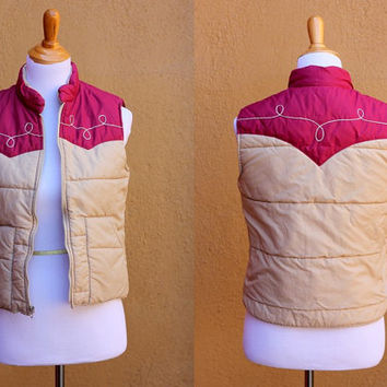 Vtg Ski Vest Maroon Tan Small Warm Winter Puffy zip up Pockets Collar Sears Roebuck Southwestern style