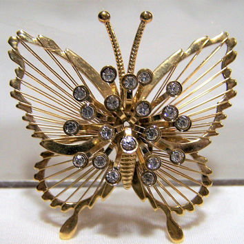 Monet Crystal Rhinestone Butterfly Pin, Wire Wrapped Wings, Gold Tone Brooch, Figural Bug Jewelry, Vintage Costume Jewellery  517