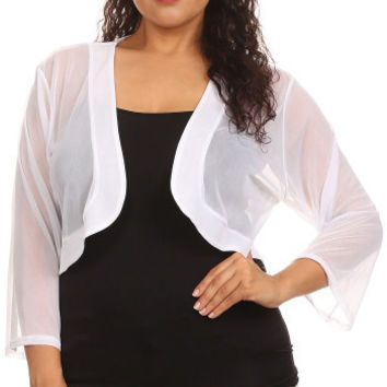 White Sheer Bolero Chiffon 3/4 Length White Chiffon Bolero Jacket