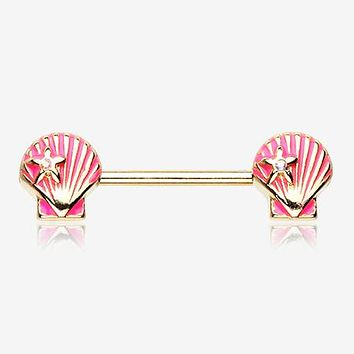 A Pair of Golden Ariel's Shell Nipple Barbell Ring
