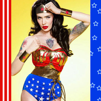 Full Wonder Woman Costume with Cape, Accessories, Corset & Bottoms Hurry...Halloween is Nearing...