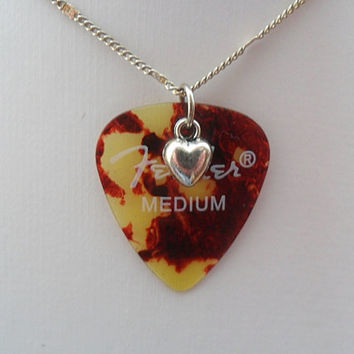 Fender shell color guitar pick necklace with heart charm