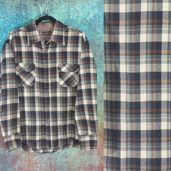 90s Flannel Shirt Vintage Plaid Brown Blue Grunge Long Sleeve Collar Button Front Baggy Oversized Top XL Large