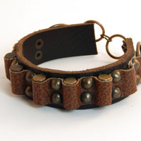 Leather Bandoleer Bracelet Cuff Brass Bullet Casings Metal Rivets Steampunk Apocalypse Brown Recycled Unisex Doomsday Road Warrior Pirate