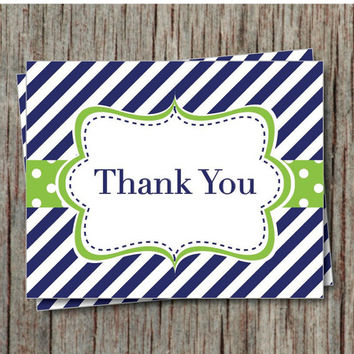 Printable Thank You Card Instant Download Baby Shower Thank You Cards Navy Blue Lime Green Birthday Thank Yous- 008