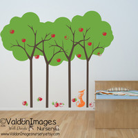 Summer apple tree and fox kids wall decal, tree wall decal, nursery wall decal, nursery decals, nursery decor, playroom decal, animal decal