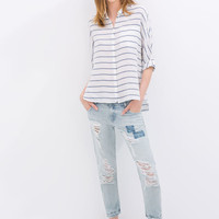 White And Blue Stripe Long-Sleeve Collared Shirt