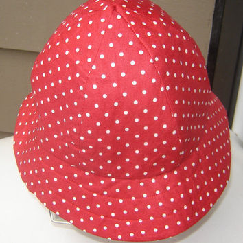 Ladies 100% Reversible Sun Bonnet, Red-White Polka Dot and Red interior