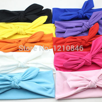 New Baby Girl Headwrap Cotton Bow Knot Headband for Girl Hair Accessories Fashion Bunny Ears Bow Hairband Headwear Free Shipping