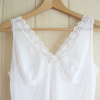 vintage white see through slip, vintage lingerie, vintage slip with lace