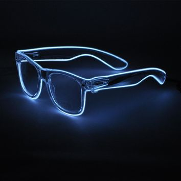 Light Up Glasses LED Rave Sunglasses white Frame EL Wire Colorful Flashing Glasses for Festivals DJ Bright Light Holiday Gift