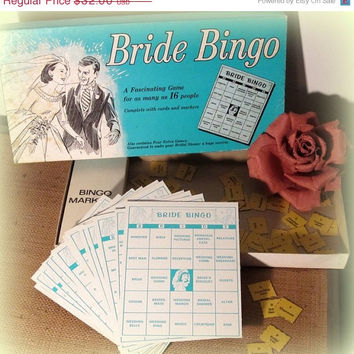 ON SALE Vintage Bride Bingo 50s Board Game Bridal Shower Party Revised 1970 TREASURY Item - Free Shipping