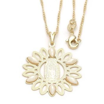Gold Layered Fancy Necklace, Guadalupe Design, with Pearl, Golden Tone