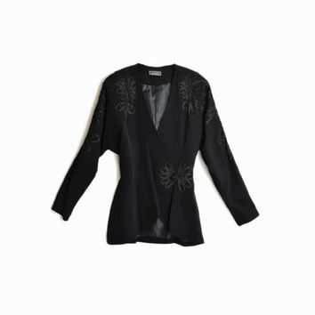 Vintage 90s CASADEI Black Dolman-Sleeve Jacket / Floral Embellished Jacket / Power Shoulders  - women's medium