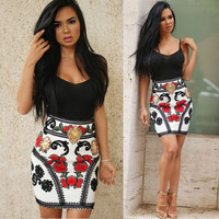 Strap Package Hip Print Curto Off Shoulder Pencil Dress