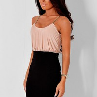 Bombay Nude and Black Dress with Gold Straps | Pink Boutique