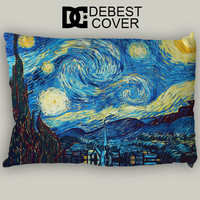 Starry Night Van Gogh Pillow Case In 20 x 30 Inches