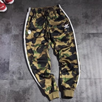 Adidas New fashion letter print sports leisure couple camouflage couple pants Army green