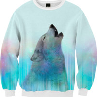 Dreamer of Dreams (Galaxy Wolf Northern Lights) Unisex FALL Sweatshirt created by soaringanchordesigns | Print All Over Me