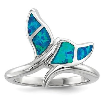 925 Sterling Silver Opal Whale Tail Ring