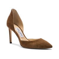Jimmy Choo Liz 100mm Suede Heel in Cacao | FWRD