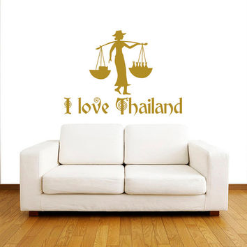 Wall Decals I love Thailand Quotes People Travel Countries Asia Thai Girl Rocker  Any Room Vinyl Decal Sticker Home Decor Murals  ML134
