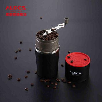 ALOCS Portable Coffee Maker 4 in 1 Stainless Steel Easy Coffee Grinder Pot for Camping or Travel