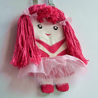 FREE SHIPPING! Bag doll for girls, pink ballerina in tulle skirt.