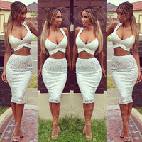 WHITE LACE TWO-PIECE ZX925BH