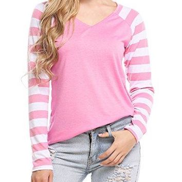 Beyove Womens Casual Knit Long Striped Sleeve Raglan Baseball Tee Shirts