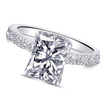 1.51 CARATS radiant cut diamond solitaire with accents ring gold white 14K