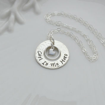 Hand Stamped Necklace for Mom, Personalized Sterling Silver Washer Necklace, Washer Necklace with Heart Dangle, Personalized Gifts for Her