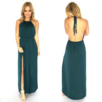 Luxurious Satin Maxi Dress In Emerald Green