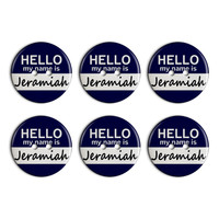 Jeramiah Hello My Name Is Plastic Resin Button Set of 6