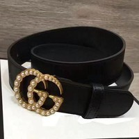 GUCCI Stylish Women Simple Smooth Buckle Leather Belt