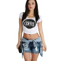 Sale-white Coffee First Crop Top