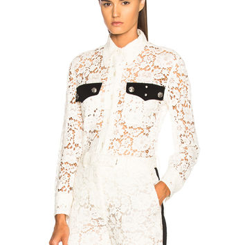 CALVIN KLEIN 205W39NYC Cotton Viscose Lace Jacket in Ivory | FWRD