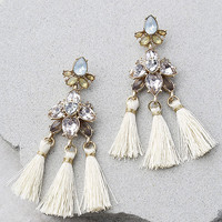 Brilliant Belle Beige and Gold Tassel Earrings