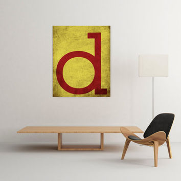 Letter d, monogram, 8x10, A3, digital download, typography, printable, home decor, poster, yellow and red, instant download modern wall art