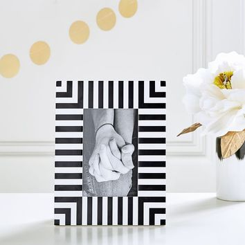 The Emily & Meritt Tabletop Frame, Black/White Stripe Rectangle