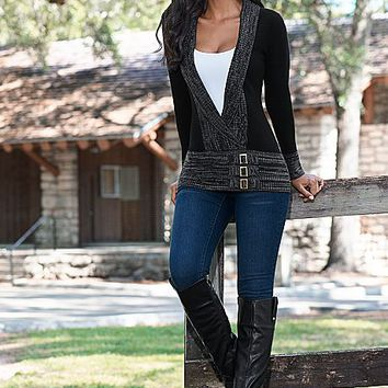 Buckle low neck sweater, cami, jeans, boots