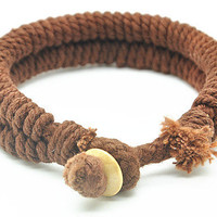 Chocolate Cotton Ropes Woven Women rope jewelry bangle Cuff Bracelet, Men rope Bracelet  RZ0021-CO