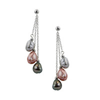 Honora Sterling Silver 8-9mm Pink Tuxedo Baroque Freshwater Cultured Pearl Dangle Earrings