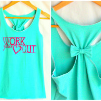 Workout Clothes Racerback Tank Top WORK your Heart OUT - Small